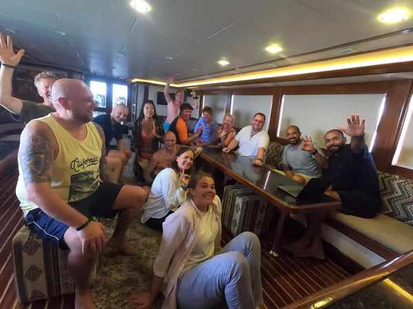 Guests enjoying the after dive on dive hurghada boat